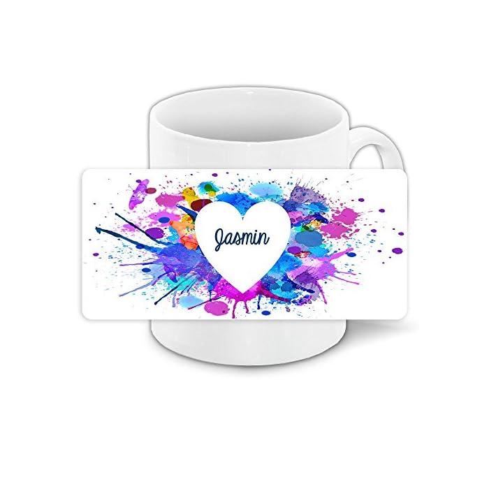 Tasse zum Valentinstag mit Namen Jasmin und schönem Motiv mit Wasserfarben-Herz - Liebestasse Keramiktasse Freundschafts-Tasse 1