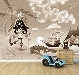 Vlies Fototapete - Kindertapete - Pirat auf Insel - Cartoon - sephia - sepia - 360x270 cm - inklusive Kleister - Tapetenkleister – Bild auf Tapete – Bildtapete – Foto auf Tapeten – Wand – Wandtapete – Vliestapete – Wanddeko - Design