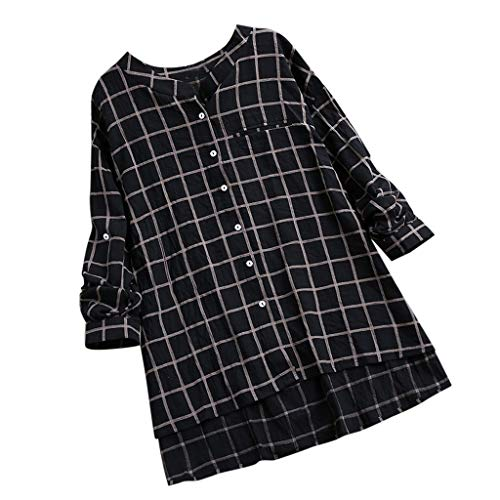 Plaid Logo Shirt (VWsiouev Frauen Plus Size Plaid V-Ausschnitt Button Down Langarm Casual Lange Tunika Tops T-Shirt Bluse Shirt Bluse)