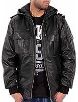 Aviatrix Mens Boys Black Sheepskin Soft Leather Slim Fit Bomber Hooded Jacket