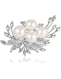 BiBeary Women elegant Zirconia Butterfly Party Paperclip Shape Brooch Silver-Tone