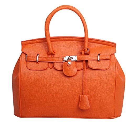 Kangrunmy semplice più grande capacità di cuoio donne spalla borsa borsetta borse donna tracolla grande (arancia)