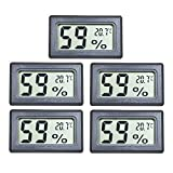 EEEKit 5-Pack LCD Digital Temperatur-Feuchtigkeitsmesser Thermometer, Mini-Digital-Thermometer Hygrometer und Feuchtigkeitsmesser für...