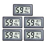 EEEKit 5-Pack LCD Digital Temperatur-Feuchtigkeitsmesser Thermometer, Mini-Digital-Thermometer Hygrometer und Feuchtigkeitsmesser für Gew?chshaus/Autos / Home/Office, schwarz