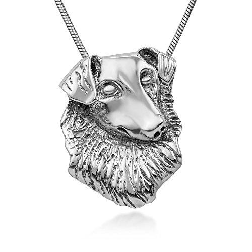 925Sterling Silber Collie Heimweh (Film Hund Kopf Tierliebhaber Anhänger Halskette für Frauen, 45,7cm Kette -