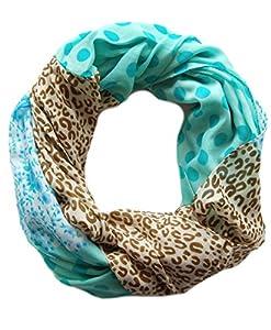 Großes Damen Schlauchtuch Ashley mit Motiv Leopard, Punkte, Blumen Loop Schal in braun türkis blau