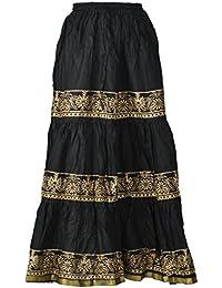 DIAMO Women's Cotton Skirt (Black)