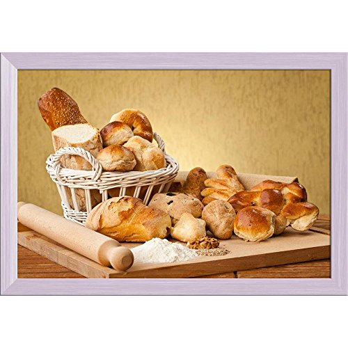 Pitaara Box Photo of Gourmet Breads Canvas Painting White Frame 23.5 X 16Inch White Bread Box