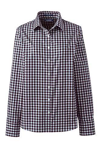 Lands\' End Elegante karrierte Langarm-Bluse für Damen aus bügelfreier Baumwolle Blau 36