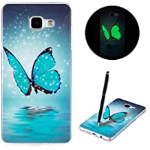 Coque Samsung A3 (2016) , Galaxy A3 (2016) Etui TPU , CaseLover Papillon Motif Mode Night Etui Coque TPU Slim pour Samsung Galaxy A3 (2016) SM - A310F (4.7 pouces) Mode Flexible Souple Soft Noctilucent Case Couverture Housse Protection Anti rayures Mince Transparent Silicone Cover - Butterfly