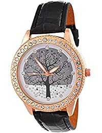 Habors Rhinestone Studded Tree Of Life Watch With Black Band For Women