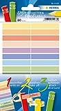 Herma 15238 Stifte-Etiketten für Kinder, mehrere Farben, 60 Stück, Papier, 10 x 46 mm, permanent selbstklebend, Namensaufkleber f. Buntstifte