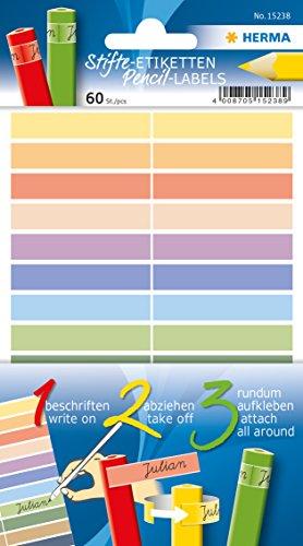 Herma 15238 Stifte-Etiketten (aus Papier, 10 x 46 mm, permanent selbstklebend, für Kinder) 60 Stück, mehrere Farben