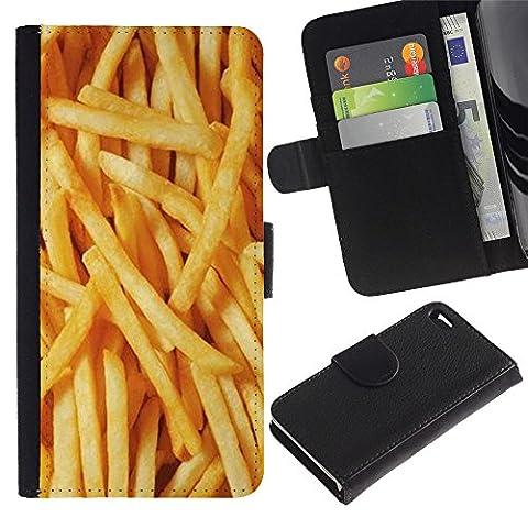 Apple iPhone 4 / iPhone 4S Bunte Muster-Schlag-Mappen-Leder-Holster Hülle Case schützende Haut Abdeckung - Fries Gold Fast Food Sun Texture