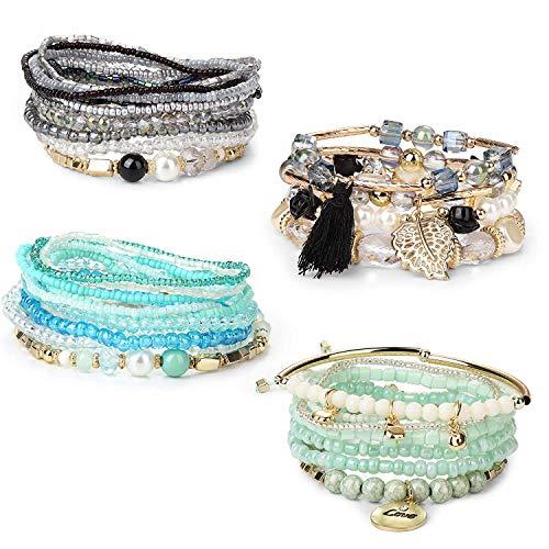 Finrezio 4 Stücke Bohemian Mehrreihiges Perlen Armband für Damen Frauen Multilayer Beads Armband Stretch Stapelbar Armband Set Mehrfarbig