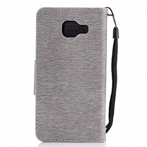 Custodia Samsung Galaxy A3 (2016) / A310F Cover, Ougger Farfalla Stampa Portafoglio PU Pelle Magnetico Morbido Silicone Flip Bumper Protettivo Gomma Shell Borsa Custodie con Slot per Schede (Grigio) Grigio