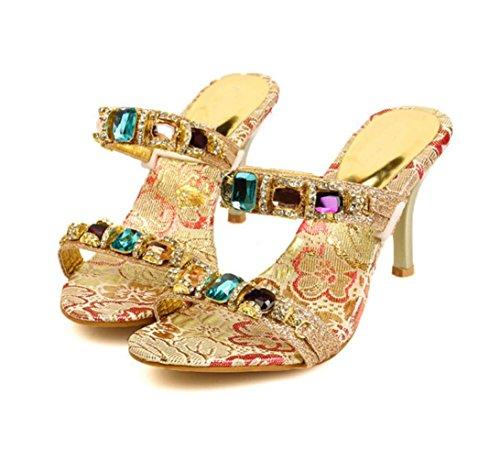 WZG chaussures européennes et américaines tempérament luxe été sexy double chaîne de diamant de couleur avec des sandales à talons hauts et des pantoufles avec nouvelle amende Gold