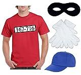 Kostüm für Panzerknacker - Komplett Set: Herren T-Shirt 167-716 in S + Cap + Maske + Handschuhe