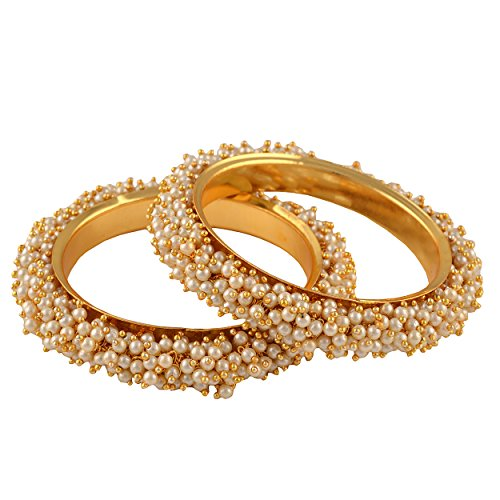 Zephyrr Traditional Jewellery Gold Tone Bangles With Pearls Jewellery For Women Pair Party Wear