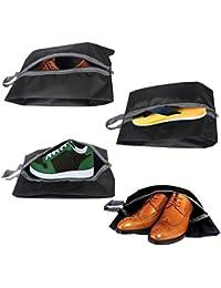 Bolsas de zapatos de viaje, NEWSTYLE Bolsa de organizador de calzado portátil de nylon resistente al agua Set de 4 con cremallera para hombres y mujeres (paquete de 4, multicolor)
