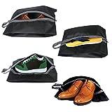 Dricar Schuhtasche 4er Set, wasserfeste Schuhbeutel Schmutzabweisender Schuhsack für den Transport von Schuhen auf Reise, Schwarz