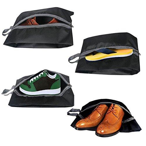 Dricar Bolsas para Zapatos - 4 Pack Bolsa para Guardar Zapatos de Viaje Nylon Resistente al Agua con la Cremallera para los Hombres y de las Mujeres(Negro)