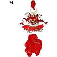 Dioche Traje De Danza del Vientre, 4 TamañOs NiñOs Moda NiñOs NiñAs Danza del Vientre Trajes Pantalones Largos Pantalones Accesorios(M)