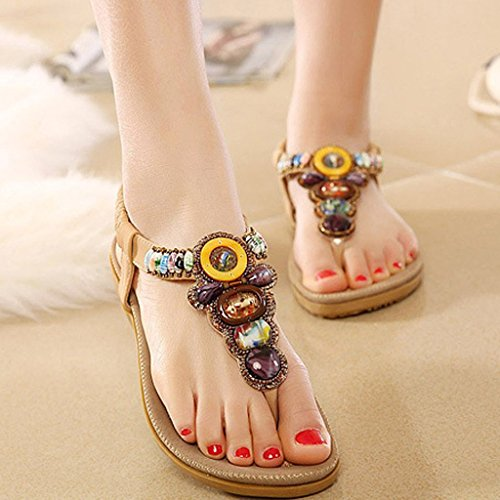 26b6c3b216bee ... iLory Femmes de Bohême Simple Sandales été Tongs flip plat Flops  Sandales avec Bohême Perles Chaussures