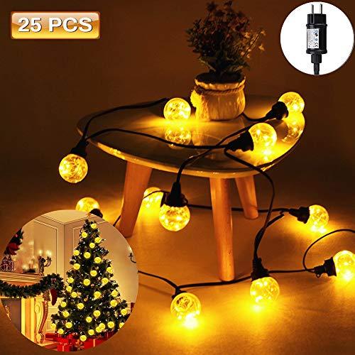 LED lichterkette Glühbirnen, SOLMORE 25LEDs IP65 Wasserdicht Lichterkette Birnen G40 Globus Schnur Gluehbirne Aussen für Hochzeit Garten Weihnachten Decoration -