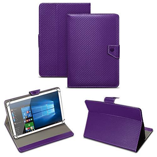 NAUC Universal Tablet Tasche mit Standfunktion Hülle für Blaupunkt Endeavour 101M 101G 101L Tablet Schutztasche in Edler Carbon-Optik Schutzhülle Cover Case, Farben:Lila