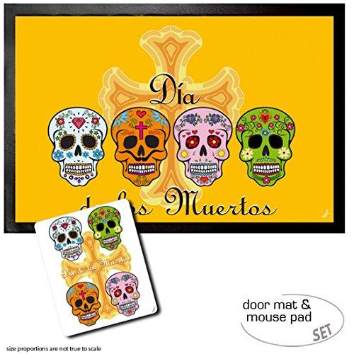 Set: 1 Fußmatte Türmatte (60x40 cm) + 1 Mauspad (23x19 cm) - Totenköpfe, Mexikanische Totenschädel, Calaveras