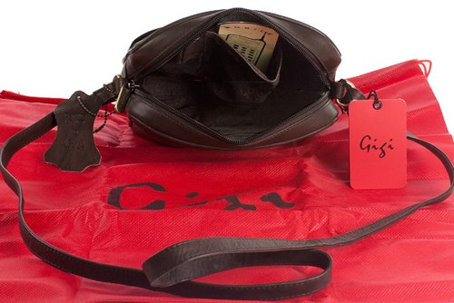 Umhängetasche Klein Leder von Gigi - GRÖßE: B: 18 cm, H: 18 cm, T: 6 cm Dunkelbraun