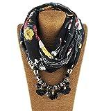 Oliviavan Damen Halskette Harz Taschentücher Schals mit Perlen Kette Anhänger Schals & Tücher für Damen Praktischer Schal Farbverlauf Schmuckschal Gradient Schal Lätzchen 170 x 44CM