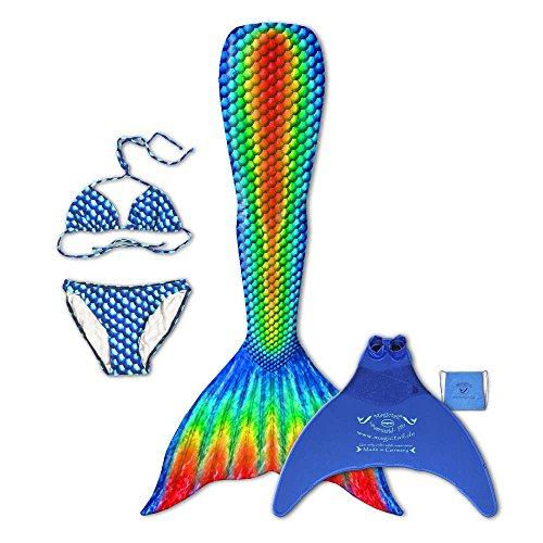magictail Original Meerjungfrauenflossen zum Schwimmen für Kinder und Erwachsene mit Kostüm, Bikini, Flosse und Tasche Rainbow M (Miss Rainbow Kostüm)