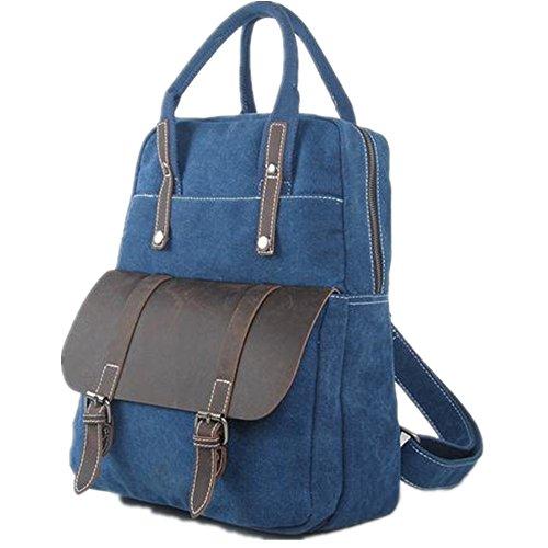 5 All Unisex Canvas Leder Multi-Tasche 4 in 1 Rucksack Handtasche Umhängetasche Henkeltasche Aktentasche Laptoptasche 30*40*11CM Neu Version (khaki) Blau
