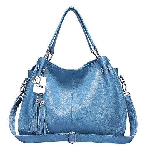 Yoome Borsa in vera pelle di vacchetta Borsa a mano in nappa da donna Borsa vintage - Blu Blu
