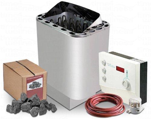 Saunaofen Nordex II 6/8 / 9 kW time4wellness Saunasteuerung K2 mit Vorwahlzeit Saunasteine Ofenkabel (6 kW für Kabine 6-8m³)