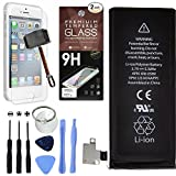 Cell Phone DIY Battery Replacement for Apple iPhone 4S - Complete Repair Kit - Includes Set of Tools - [Pack of 2] Glass Screen Protectors - 0 Cycle 1430mAh Batteries - For Models A1387 & A1431