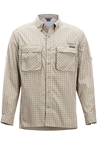 ExOfficio Men's Air Strip Check Plaid Long Sleeve Button Down Shirts, Lt Khaki, X-Large