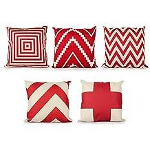 Top Finel 5 Fundas de cojín Almohada geométricos Rayado Lino Duradero decorativa para camas sofás sillas Conjunto 45 x 45 cm,Rojo Serie
