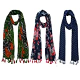 FusFus Women's Cotton Printed Scarf and Stole (FB25, Multicolour, Free Size) - Combo of 3 Stoles