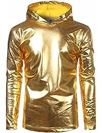 DRESS start Herren Lackleder Hip Hop Pollover Hoodie Hipster Top Shirt  Sweatshirts Jacke T-Shirt Herren 2567e7a506