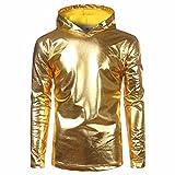 DRESS_start Herren Lackleder Hip Hop Pollover Hoodie Hipster Top Shirt Sweatshirts Jacke T-Shirt Herren Jack Oversize Pullover S-2XL (XL, Gold)