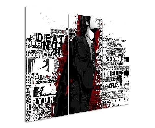 Leinwandbild 3 teilig Death_Note_Typography_3x90x40cm (Gesamt 120x90cm) _Ausführung schöner Kunstdruck auf echter Leinwand als Wandbild auf Keilrahmen