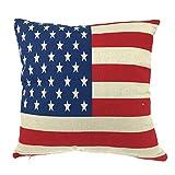Luxbon Funda de Cojín Almohada Lino Duradero Bandera Estrellada USA Decoración para Sofá Cama Coche 18x18' 45x45 cm