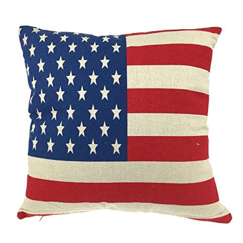 Luxbon Funda de Cojín Almohada Lino Duradero Bandera Estrellada USA Decoración para...