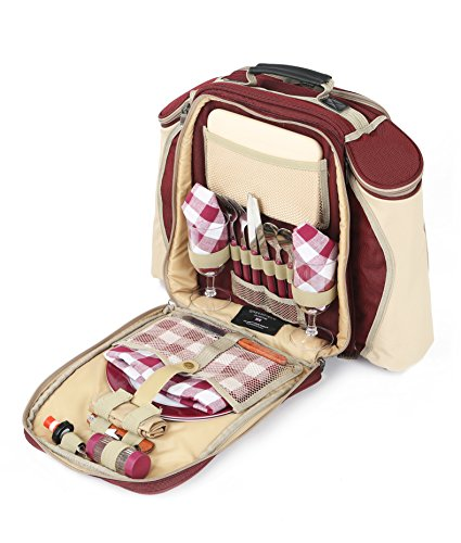 The Greenfield Collection BPD2RDH Deluxe zwei Personen luxus Picknick Rucksack, weinrot