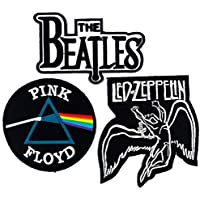 Set_ROCK010 - Pink Floyd Patch, The Beatles Band Patches and Led Zeppelin Patch, 3 Pcs Heavy Metal Patches, Applique Embroidered Patches - Rock Band Iron on Patches by Asian 108 Markets