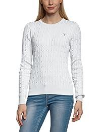 GANT Damen Pullover STRETCH COTTON CABLE CREW, Einfarbig