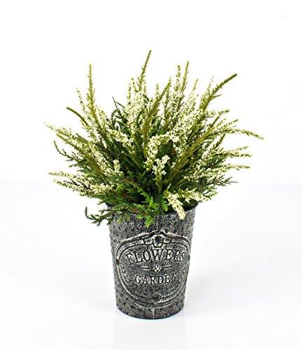 artplants Künstliche Erika im Metalltopf, weiß, 32 cm, Ø 25 cm – Kunstpflanze im Topf/Heidekraut künstlich